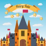 Fairytale concept design. Castle of fairytale fantasy and magic theme Vector illustration Royalty Free Stock Photography