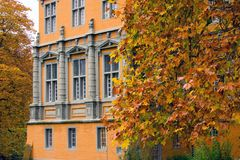 Castle and fall leaves. A castle detail and colorful autumn leaves Royalty Free Stock Photo