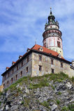 Castle with famous round tower in Cesky Krumlov Royalty Free Stock Photos
