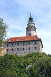 Castle with the famous round tower in Cesky Krumlov Stock Photo