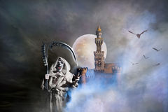 Castle fantasy with ghost Stock Images