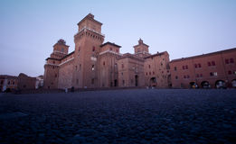 Castle in Ferrara, Italy at twighlight time Stock Photos