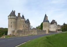 Castle in fields. In Loire valley Royalty Free Stock Photo