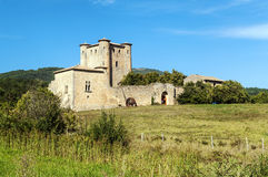 Castle in the fields of france stock photography
