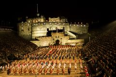 Castle Finale. Edinburgh Military Tattoo with the castle lit and the military bands on parade in all their glory Royalty Free Stock Photos