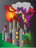 Castle and fire breathing dragon. An imposing castle rising basking in the light of a scary red moon and a scary purple dragon hovering menacingly above it Royalty Free Stock Images