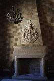 Castle Fireplace. Stone fireplace at old medieval castle Stock Images