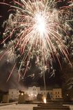 Humenne mansion and fireworks Royalty Free Stock Image