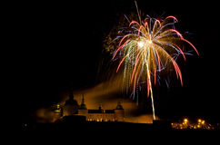 Castle and fireworks. Fireworks at New Years Eve 2011 with an old castle in background Royalty Free Stock Photo