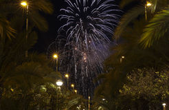 Castle Fireworks in Elche Royalty Free Stock Images