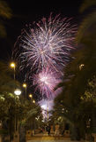 Castle Fireworks in Elche Royalty Free Stock Photography
