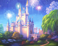 Castle fireworks. Theatre backdrop featuring a scene with fireworks exploding over a medieval castle vector illustration