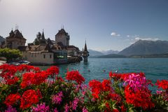 Castle in Oberhofen on Thuner Lake in Switzerland stock photography