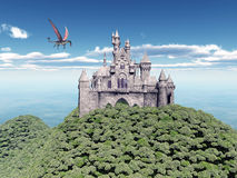 Castle and Flying Dragon. Computer generated 3D illustration with a Castle and a Flying Dragon Stock Image