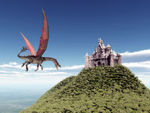 Castle and Flying Dragon. Computer generated 3D illustration with a Castle and a Flying Dragon Stock Photography