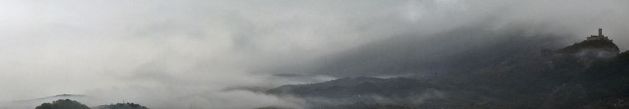 Castle in the fog. Panorama of Drena castle in the fog royalty free stock photo