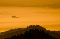 Castle in fog royalty free stock photo