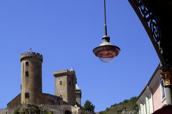 The castle of Foix from the market,Cathar country, Royalty Free Stock Photography