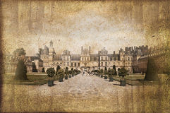 Castle of Fontainebleau, France, vintage process Stock Image
