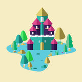 Castle in forest illustration Stock Photos