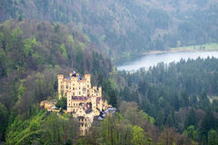 The castle is in the forest on the mountain, cloundy day Royalty Free Stock Photos