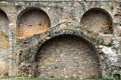 Castle fort wall in Ainsa village Aragon Pyrenees. Huesca Spain Royalty Free Stock Photo