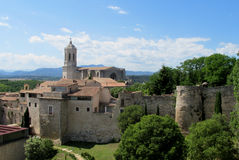 Castle fortificated wall and church Stock Images