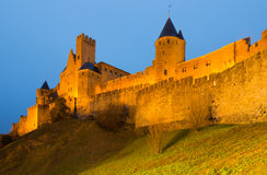 Castle and fortified city in evening time.  Carcassonne Royalty Free Stock Photos
