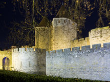 Castle and fortified city in night.  Carcassonne Stock Image