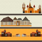 Castle, fortress, houses of different ages for children. Ancient city, medieval, fortress, houses. of different ages for children. Can be used as stickers stock illustration