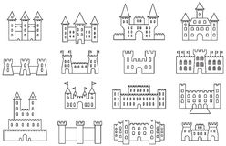 Castle and fortress icon set. Set of black and white flat icons representing castles and fortresses Stock Image