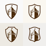 Castle fortress on shield, vector icon illustration Stock Photo
