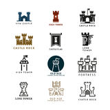 Castle, fortress vector logo set. Tower architecture icon, building medieval, fort illustration Royalty Free Stock Photos