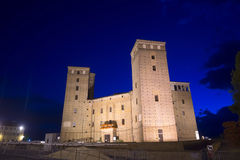 The castle of Fossano by night Royalty Free Stock Photos