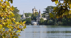 Castle Franzensburg with pond Royalty Free Stock Photos