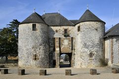 Castle of Fresnay on Sarthe in France royalty free stock photos