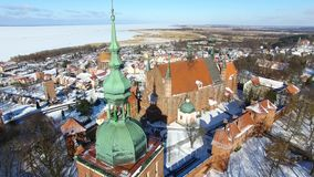 Castle of Frombork in Poland. Aerial: Castle of Frombork in Poland at winter time stock video