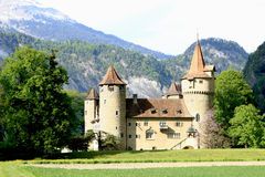 Castle in front of a mountain scenery Stock Images