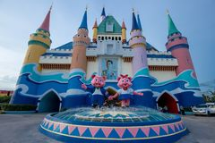 Castle in front of Themepark with beautiful sky. Siam Park City, Bangkok, Thailand - July 2016 : Castle in front of Themepark with beautiful sky Royalty Free Stock Photo
