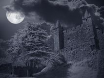 Castle in a full moon night. Medieval castle in a cloudy full moon night royalty free stock image