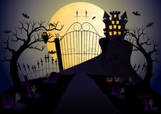 Castle and full moon vector illustration with pumpkin, bat, castle, tree and cemetery Royalty Free Stock Image