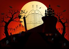 Castle and full moon vector illustration with pumpkin, bat, castle, tree and cemetery Stock Image