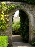 Castle Garden. View up to Arundel Castle in West Sussex through the garden archway Stock Images