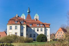 Castle and garden in the historic center of Freckenhorst royalty free stock photo