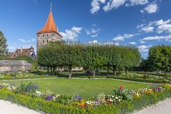 Castle Garden in Lower Bastion, Imperial Castle and Tiergartnertor, Nuremberg, Franconia, Bavaria, Germany. Castle Garden in Lower Bastion, Imperial Castle and royalty free stock image