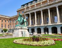 The Castle, the garden and the Statue of the horseherd - Buda Castle - Budapest. Photo of the Castle, the garden and the statue of the horseherd at Buda Castle stock photos