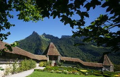 Castle Gardens. The gardens and outer wall of the medieval castle of Gruyères in the French-speaking part of Switzerland (Canton Fribourg Stock Photography