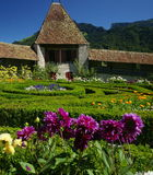 Castle Gardens. The gardens and outer wall of the medieval castle of Gruyères in the French-speaking part of Switzerland (Canton Fribourg Stock Photos
