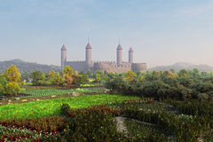 Castle In Gardens. Extremely detailed 3D illustration of a castle and gardens around it. High resolution, high quality Stock Photography