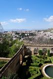 Castle gardens and city view, Granada. Stock Image